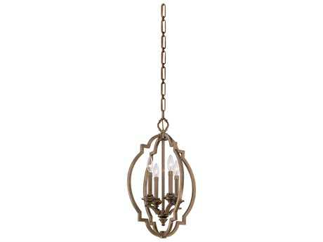 Metropolitan Lighting Leicester Aged Brass Four-Lights 15.5'' Wide Pendant Light
