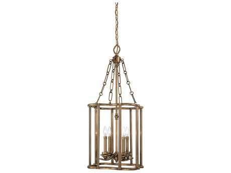 Metropolitan Lighting Leicester Aged Brass Four-Lights 18'' Wide Pendant Light