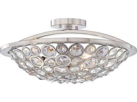 Metropolitan Lighting Magique Polished Nickel Three-Lights 18'' Wide Semi-Flush Mount Light METN6750613