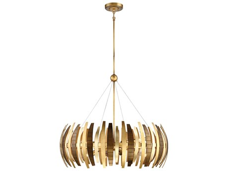 Metropolitan Lighting Manitou Ardor Gold Eight-Light 34'' Wide Pendant Light