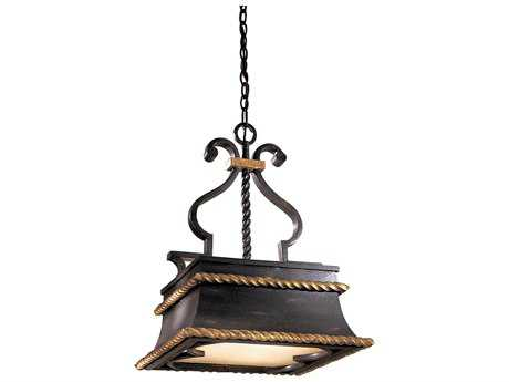 Metropolitan Lighting Montparnasse French Black with Gold Leaf Highlight Three-Lights 17'' Wide Pendant Light