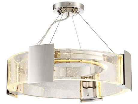 Metropolitan Lighting Stellaris Polished Nickel Ten-Light 20'' Wide LED Semi-Flush Mount Light METN7235613L