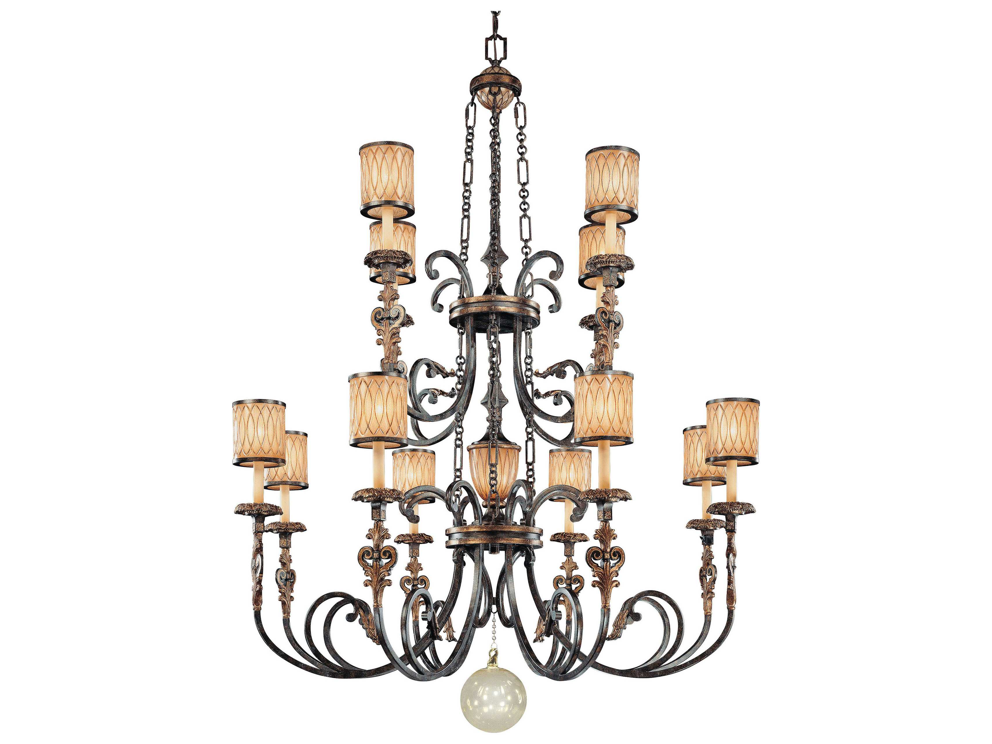 Metropolitan Lighting Terraza Villa Aged Patina With Gold Leaf Accents 13 Lights 54 Wide Grand Chandelier