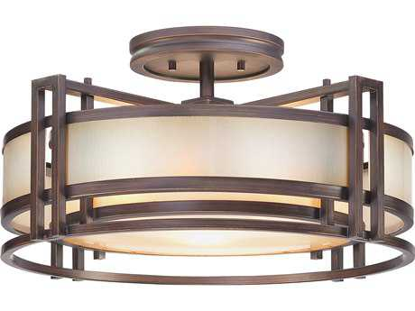 Metropolitan Lighting Underscore Cimarron Bronze Three-Lights 22'' Wide Semi-Flush Mount Light METN6964267B