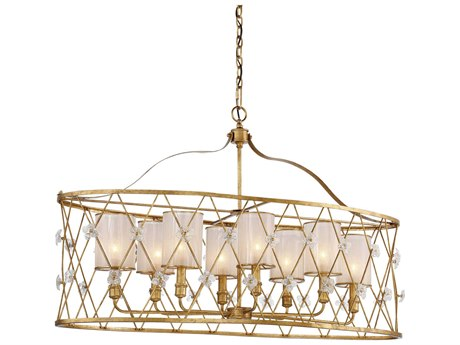 Metropolitan Lighting Victoria Park Elara Gold Eight-Light 43'' Wide Island Light METN6568596