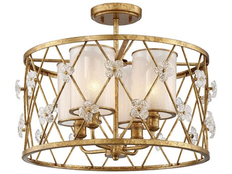Metropolitan Lighting Victoria Park Elara Gold Four-Light 19'' Wide Semi-Flush Mount Light METN6565596