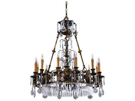 Metropolitan Lighting Vintage Oxidized Brass 12-Lights 34'' Wide Grand Chandelier METN9067