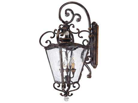 Metropolitan Lighting Aged Patina with Gold Leaf Accents Three-Lights Outdoor Wall Light