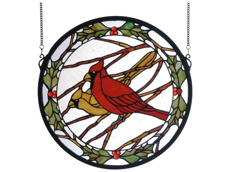 Meyda Tiffany Cardinals & Holly Medallion Stained Glass Window MY65289