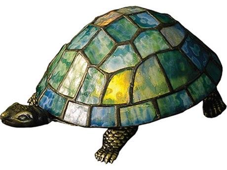 Meyda Tiffany Turtle Tiffany Glass Multi-Color Accent Table Lamp MY10270