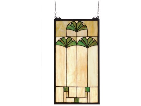 Meyda Tiffany Ginkgo Stained Glass Window MY67787