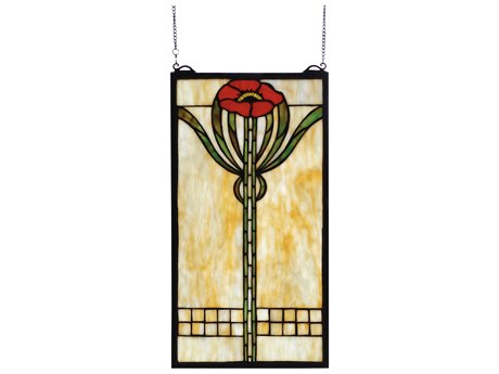 Meyda Tiffany Parker Poppy Stained Glass Window MY67789