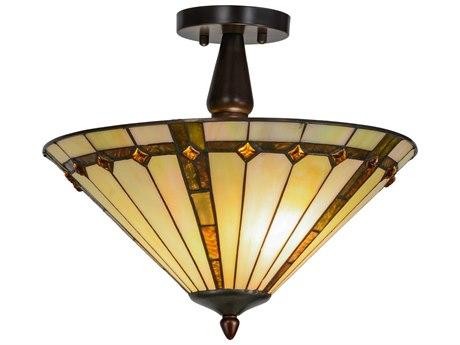 Meyda Lighting Belvidere Two-Light 16'' Wide Semi-Flushmount