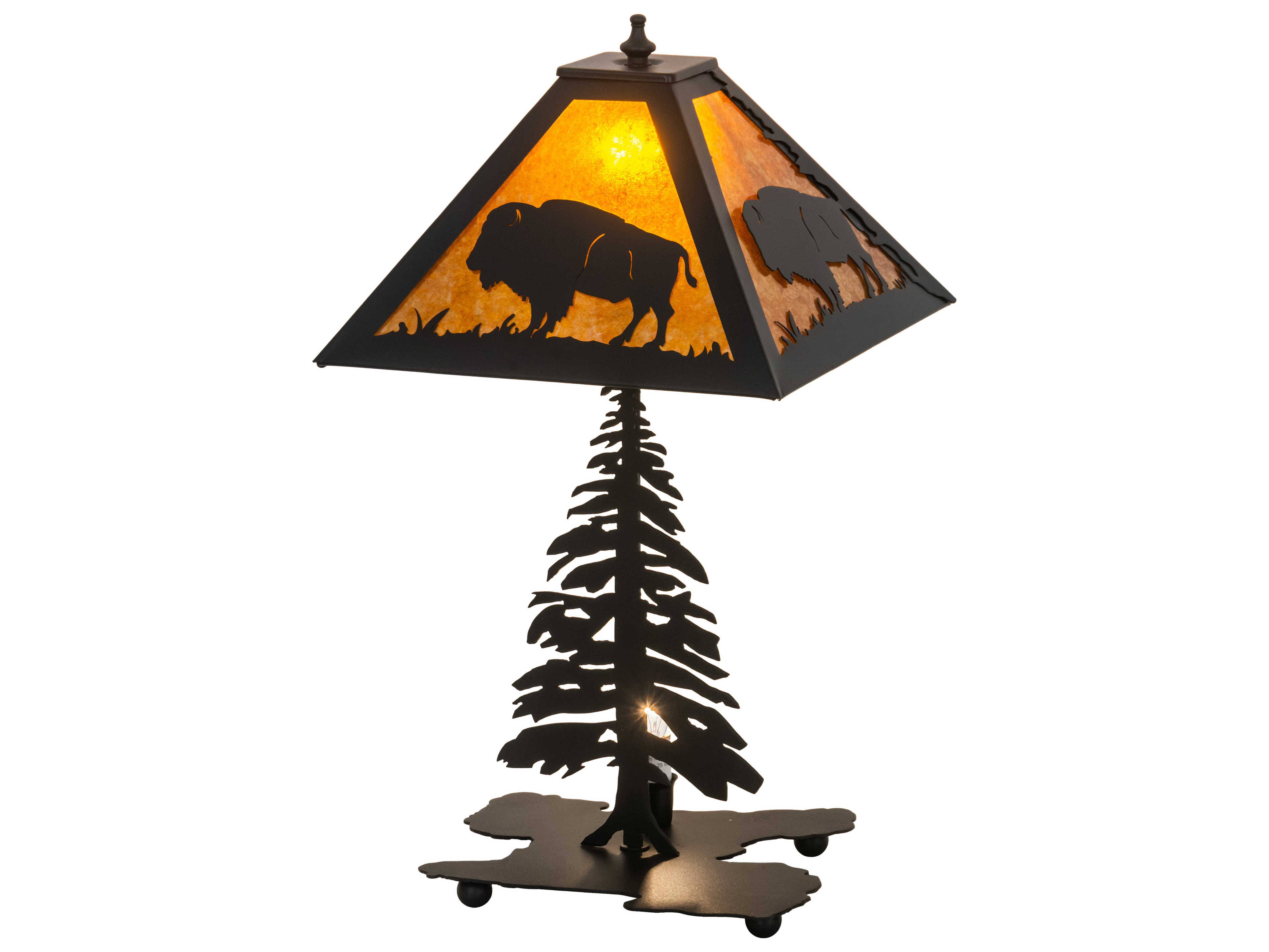 Picture of: Meyda Buffalo Black Amber Mica 2 Light Rustic Lodge Table Lamp My214532