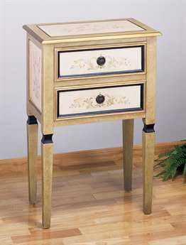 Meyda Tiffany 24 x 15 Rectangular Multi-Color Scroll 2 Drawer Occasional End Table