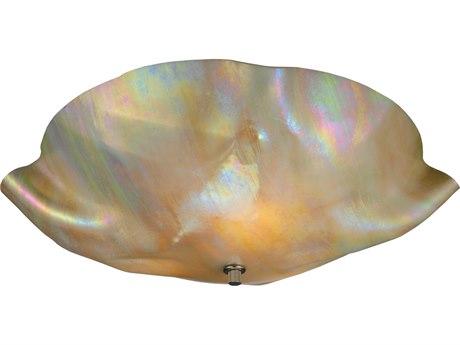 Meyda Tiffany Metro Beige Iridescent Organic Art Glass Three-Light Flush Mount Light MY114167