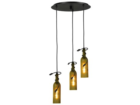 Meyda Tiffany Tuscan Vineyard Etched Grapes Three-Light Wine Bottle Shower Pendant Light