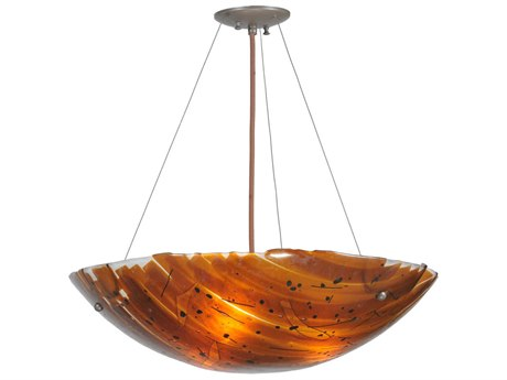 Meyda Tiffany Torta Fused Glass Inverted Three-Light Pendant Light