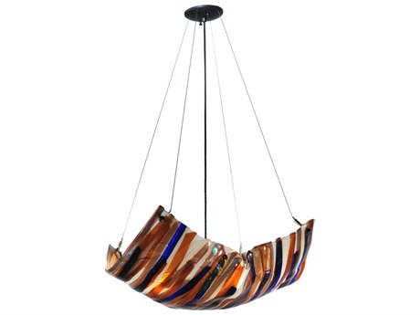 Meyda Tiffany Oceano Fused Glass Four-Light Inverted Pendant Light