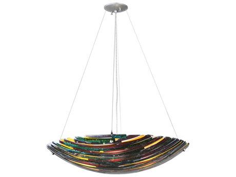 Meyda Tiffany Penna Di Pavone Fused Glass Four-Light Inverted Pendant Light