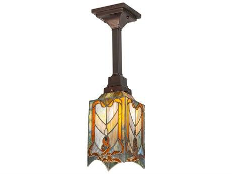 Meyda Cottage Mission Coral / Sunflower Amber Chocolate Beige 1-light 55'' Wide Glass Tiffany Semi-Flush Mount