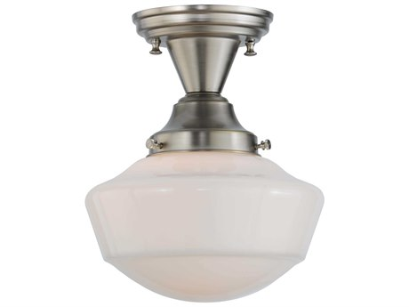Meyda Tiffany Schoolhouse with Traditional Globe Semi-Flush Mount Light