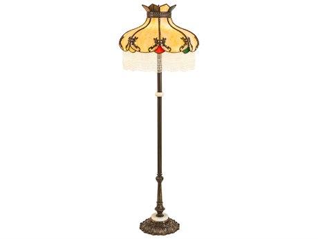 Meyda Elizabeth Antique Brass 3-light Glass Tiffany Floor Lamp MY211273