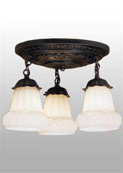 Meyda Tiffany White Puffy Rose Three-Light Shower Semi-Flush Mount Light MY30543