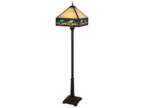 Meyda Glass Rustic Lodge Floor Lamp MY182377