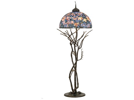 Meyda Glass Rustic Lodge Tiffany Floor Lamp
