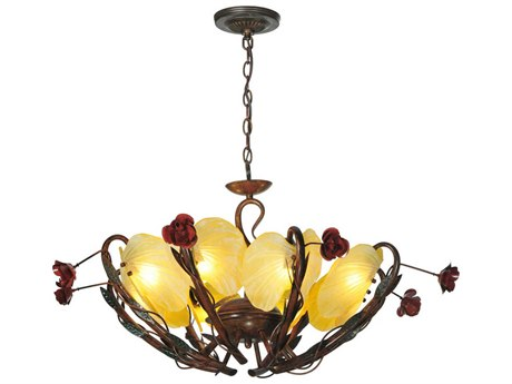Meyda Tiffany Rose Coils Eight-Light 32 Wide Chandelier
