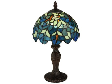 Meyda Tiffany Nightfall Wisteria Multi-Color Mini Table Lamp MY124812