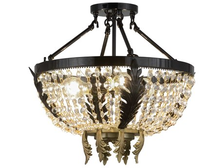 Meyda Tiffany Chrisanne Crystal Three-Light Semi-Flush Mount Light MY130636