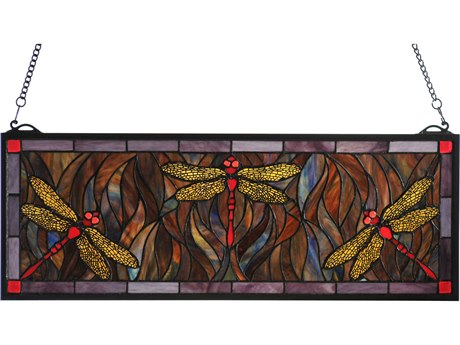 Meyda Tiffany Dragonfly Trio Stained Glass Window MY48091