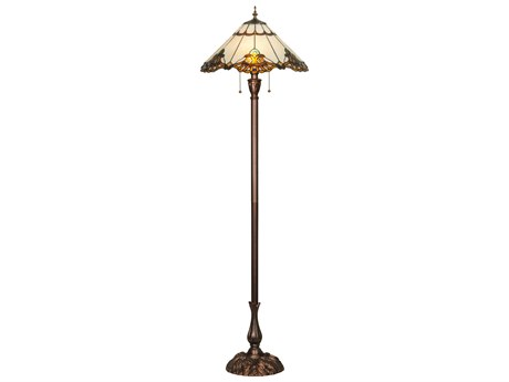 Meyda Tiffany Shell with Jewels Multi-Color Floor Lamp MY144409