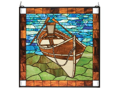 Meyda Tiffany Beached Guideboat Stained Glass Window MY21440