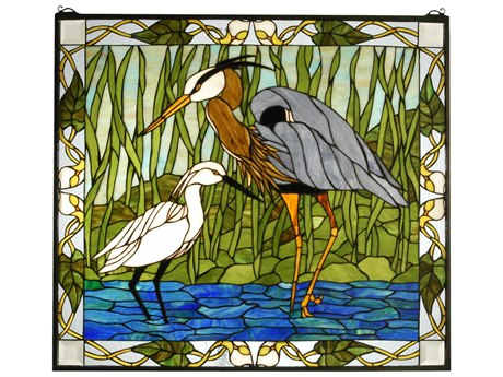 Meyda Tiffany Blue Heron & Snowy Egret Stained Glass Window MY62955