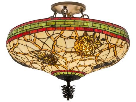 Meyda Tiffany Burgundy Pinecone Four-Light Semi-Flush Mount Light MY139874