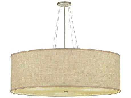 Meyda Tiffany Cilindro White Burlap Fabric Dimmable Three-Light Semi-Flush Mount Light