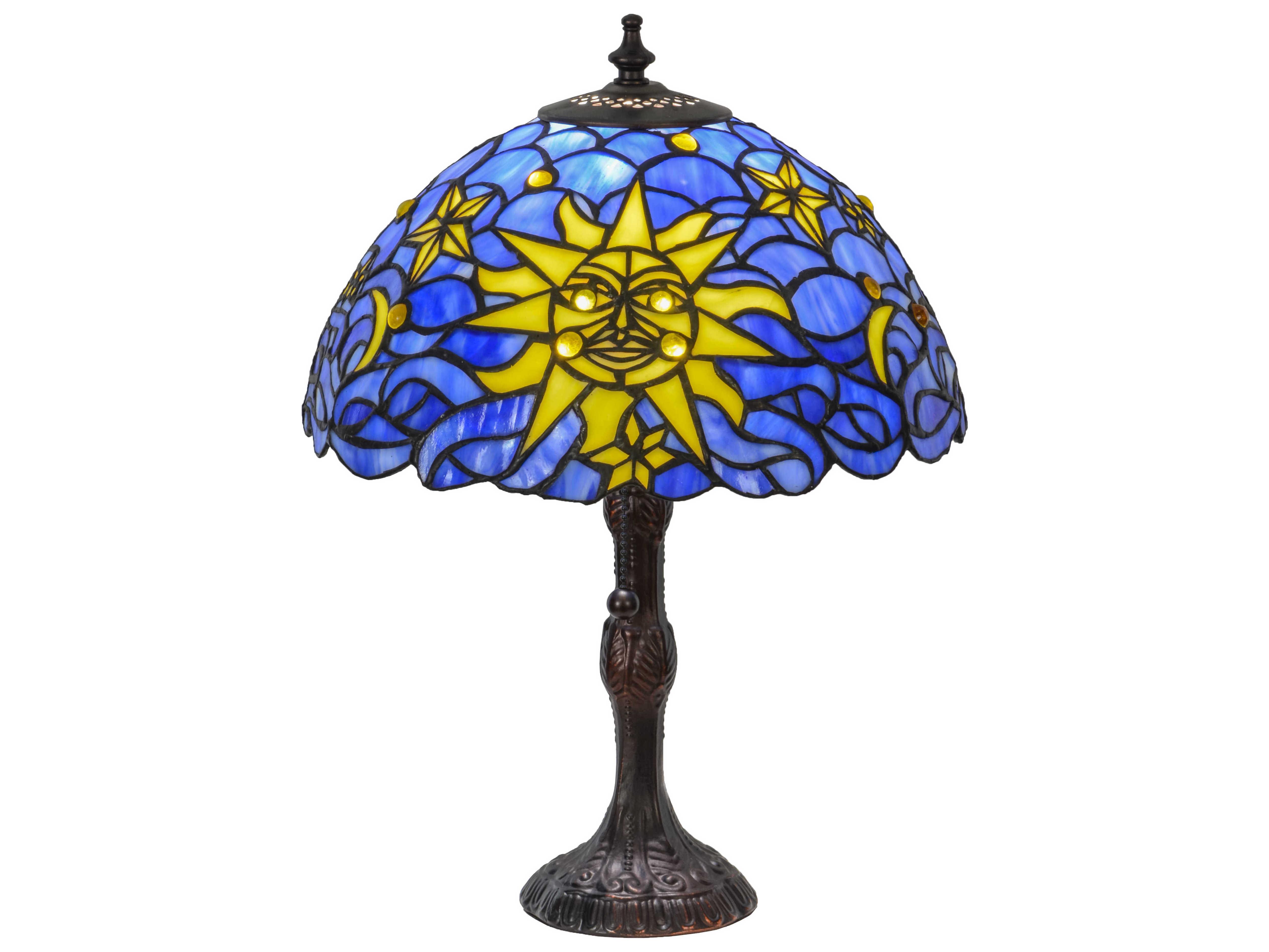 Meyda Tiffany Sun Moon Amp Stars Blue Table Lamp My153615