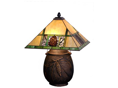 Meyda Tiffany Pinecone Ridge Beige Table Lamp MY67850