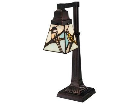 Meyda Tiffany Early Morning Visitors Multi-Color Desk Lamp