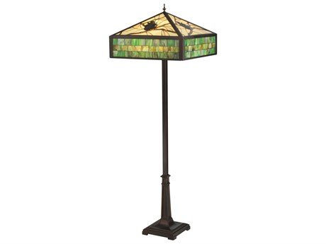 Meyda Tiffany Green Pine Branch Mission Multi-Color Floor Lamp MY119175