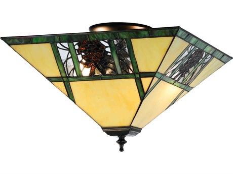 Meyda Tiffany Pinecone Ridge Two-Light Flush Mount Light MY144217