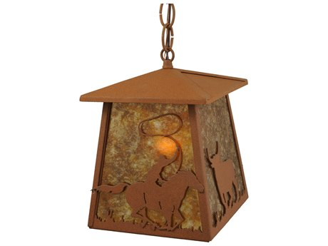 Meyda Tiffany Cowboy & Steer  Mimi-Outdoor Hanging Light