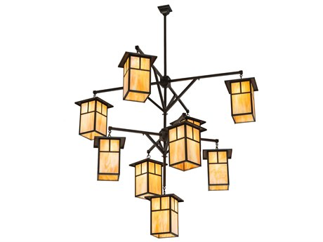 Meyda Tiffany Hyde Park T Mission 3 Tier Hanging Lantern Nine-Light 64'' Wide Chandelier MY110802