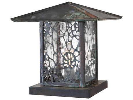 Meyda Tiffany Seneca Lotus Leaf & Dragonfly Zasdy Vintage Copper Outdoor Pier Mount Light