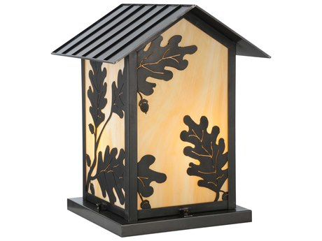 Meyda Tiffany Seneca Oak Leaf Ca  Two-Light Outdoor Pier Mount Light
