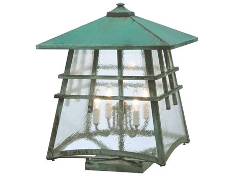 Meyda Tiffany Stillwater Double Cross Mission Zasdy Verdi Outdoor Post Mount Light