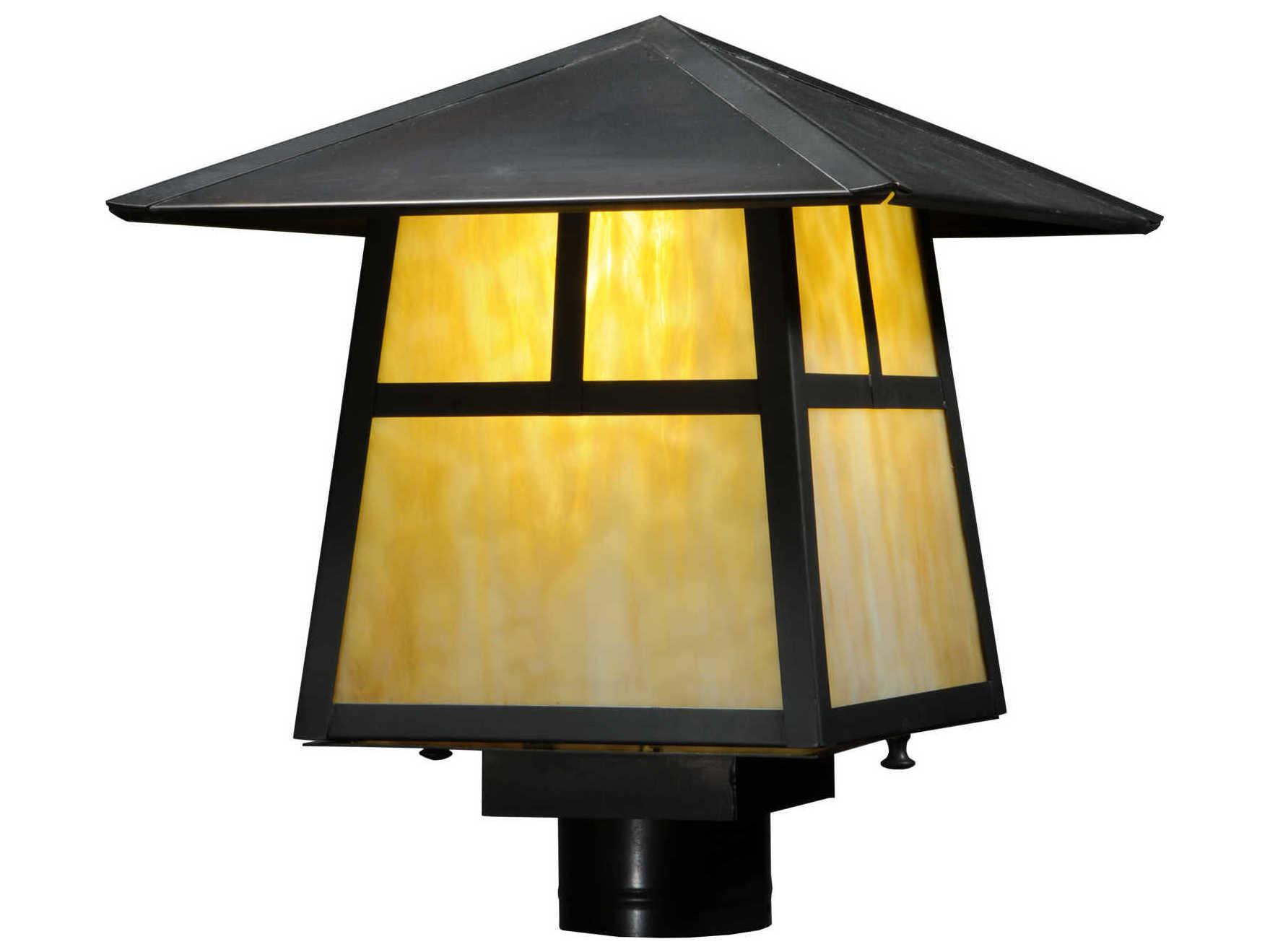 Meyda Tiffany Stillwater T Mission Beige Craftsman Outdoor Post Mount Light My138052